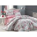 Lenjerie de pat, 2 persoane, Monica, bumbac 100%, 4 piese, alb