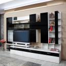 Biblioteca living Pallas Domino, crem + negru lucios, 293 cm, 11C