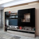 Biblioteca living Pallas Kubi, ulm inchis + negru lucios, 293 cm, 11C