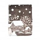 Patura Let it snow 150 x 200 cm, poliester, maro + alb