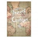 Tablou PT1440 Travel & courage, panza canvas + sasiu brad, stil motivational, 80 x 60 cm