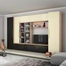 Biblioteca living Neo, stejar bardolino + negru lucios + crem lucios, 350 cm, 6C