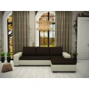 Coltar living extensibil pe stanga Daria, cu lada, crem + maro, 252 x 177 x 70 cm, 2C