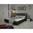 Pat dormitor Iris Lara 11 dublu, tapitat, negru 160 x 200 cm 4C