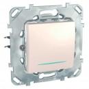 Intrerupator cap cruce cu indicator luminos Schneider Electric Unica MGU50.205.25NZ, incastrat, fildes