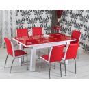 Set masa extensibila cu 6 scaune tapitate R344 bucatarie, rosu + alb, 3C