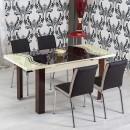 Set masa extensibila cu 6 scaune tapitate R344 bucatarie, maro + crem, 3C