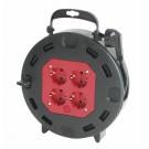 Derulator cablu electric capsulat 16095, 4 prize, 15 m, 3 x 1.5 mmp, contact de protectie