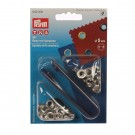 Ocheti metalici 5 mm, cu saiba, pentru confectii + dispozitiv montare, Prym 114542 410