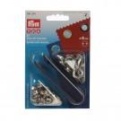 Ocheti metalici 8 mm, cu saiba, pentru confectii + dispozitiv montare, Prym 114541 374