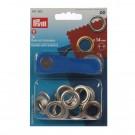 Ocheti metalici 14 mm, cu saiba, pentru confectii  + dispozitiv montare, Prym 114541 383