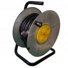 Derulator cablu electric cu flanse metalice, 4 prize, 25 m, 3 x 2.5 mmp, contact de protectie