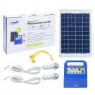 Sistem solar cu panou fotovoltaic 10W + unitate centrala 12V / 7Ah + 2 x bec LED PNI-SUNH01, USB / radio / MP3