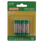 Baterie Hoff, LR03 / AAA, Alkaline, 4 buc