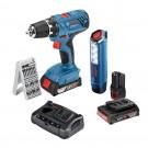 Masina de gaurit / insurubat Bosch Professional GSR 18V-21, cu 2 acumulatori, 18 V, 2 Ah + lanterna Bosch Professional GLI 12V-300 + accesorii