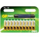 Baterie GP, AA / R6, alcalina, 10 buc + lanterna