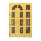 Usa din lemn pentru exterior, Zsuzsana, natur netratat, cu sticla bombata, stanga, 140 x 210 cm