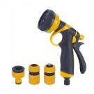 Pistol de stropit DY2372P, PVC, debit reglabil, 8 jeturi stropire + stut robinet + cuple furtun