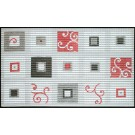 Covoras baie Friedola 77713, gri / alb / rosu, 80 x 50 cm