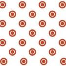 Perdea dus Hypo 4132, model cercuri, alb + rosu, 180 x 180 cm