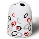Suport periute dinti, Picco 2190512, ceramica, alb / rosu / negru, 11 x 8 x 8 cm
