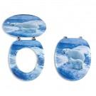 Capac WC din MDF, Ferro Medvedi Nova, decor ursi polari, inchidere standard, 375 x 455 mm