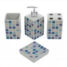 Set accesorii pentru baie, Kadda 120130, ceramica, 4 piese, mozaic