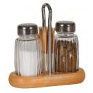 Solnita condimente + suport, lemn + sticla, 11 x 11 x 13 cm, set 2 bucati
