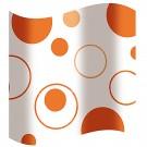 Perdea dus Hypo 817, model cercuri, alb + portocaliu, 180 x 180 cm