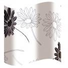 Perdea dus Hypo 818, model flori, alb + negru, 180 x 180 cm