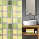 Perdea dus Kleine Wolke Sonny 34178, model romburi, transparent + verde, 180 x 200 cm
