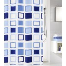 Perdea dus Kleine Wolke Clipper 34181, model patratele, alb + albastru, 180 x 200 cm