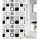 Perdea dus Kleine Wolke Clipper 34182, model patratele, alb + negru, 180 x 200 cm