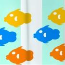 Perdea dus Globe fish, model pesti, alb + galben + albastru, 180 x 200 cm