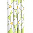 Perdea dus Magnolia, model flori, alb + verde + galben, 180 x 200 cm