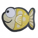 Covoras baie Big Eye Fish, model pesti, galben, 65 x 50 cm