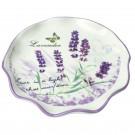 Tava pentru servit, Kasemi, ceramica, decor lavanda, 25.5 x 4 cm