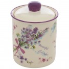 Recipient pentru bucatarie HC3D01B-P114, 500 ml, alb + mov, ceramica, 9.8 x 14.3 cm