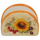 Suport pentru servetele HC4112-S16, ceramica, 9.8 x 4.4 x 7.3 cm, alb + portocaliu