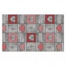 Covoras baie Terra-Mat 1024-1, model inimi, gri / rosu, 60 cm