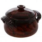 Vas cu capac si manere, ceramica, 5 litri, maro