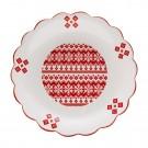 Farfurie intinsa HC886-N1, ceramica, alb + rosu, model Craciun, 32.5 cm