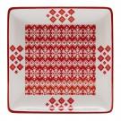 Farfurie intinsa HC8142-N1, ceramica, alb + rosu, model Craciun, 24 cm