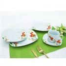 Set farfurii EP3110, portelan, alb + portocaliu + verde, 30 piese