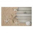 Covoras baie Friedola Starfish 77702, antiderapant, model marin, bej, 48 x 80 cm