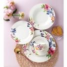 Set farfurii F044, portelan, violet + roz + verde + model floral, 30 piese