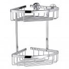Etajera pentru baie din aluminiu cromat Tesa Aluxx 40205, autoadeziva, montaj pe colt, 2 rafturi, 26 x 16.3 x 17 cm