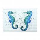 Covoras baie Friedola 23094, model calut de mare, albastru, 48 x 80 cm