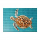 Covoras baie Friedola 23093, model testoasa, albastru / maro, 48 x 80 cm