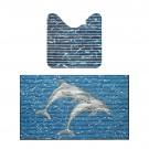 Covoras baie Friedola 23076, model delfin, albastru, set 2 bucati, 48 x 80 x 48 cm